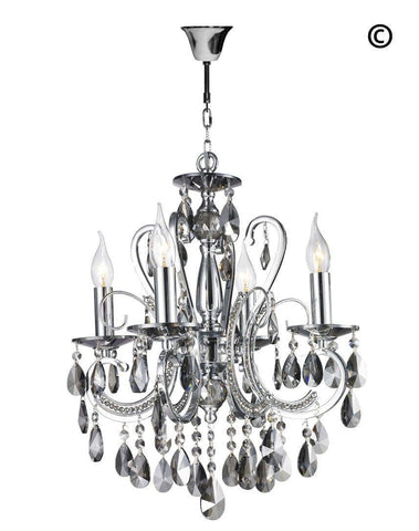 Designer Princess 4 Arm SMOKE Chandelier - W:42cm - Designer Chandelier