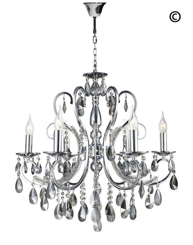 Designer Princess 6 Arm Chandelier - SMOKE - W:62 - Designer Chandelier