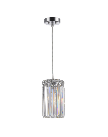 Modular Single Light Pendant - Round - Height 20cm - Chrome Fixtures