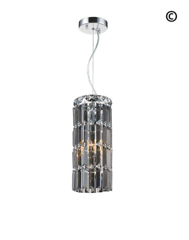 Modular Cylinder Crystal Pendant - Round - Height 37cm - Smoke Crystal
