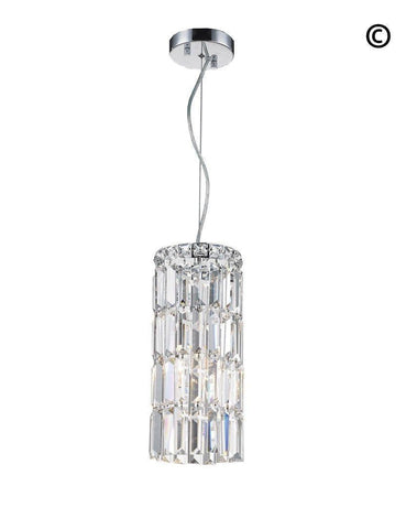 Modular Cylinder Crystal Pendant - Round - Height 37cm - Clear Crystal