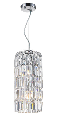 Modular Cylinder Crystal Pendant - Round - Height 43cm - Clear Crystal