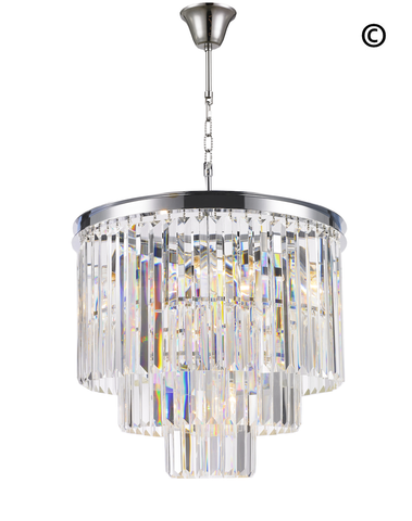 Odeon Chandelier- 3 Layer - Clear Finish - W:50cm Odeon Chandelier- 3 Layer - Clear Finish - W:50cm