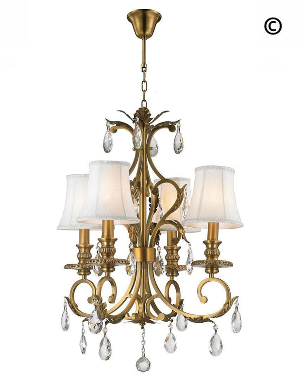 ARIA - Hampton 4 Arm Chandelier - Brass - Designer Chandelier