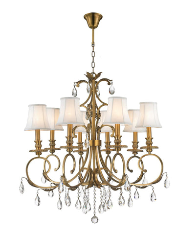 ARIA - Hampton 8 Arm Chandelier - Brass - Designer Chandelier