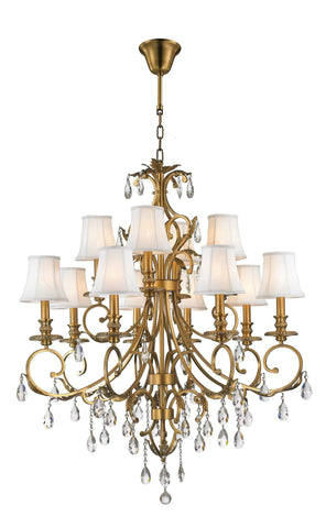 ARIA - Hampton 12 Arm Chandelier - Brass - Designer Chandelier