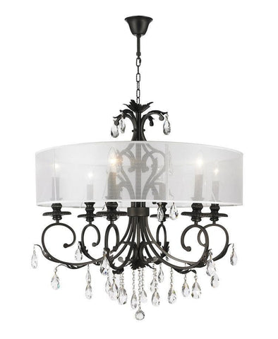 ARIA - Hampton 6 Arm Chandelier - Dark Bronze - Orb Outer Shade