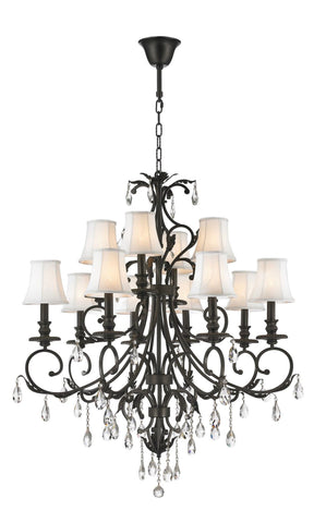 ARIA - Hampton 12 Arm Chandelier - Dark Bronze - Designer Chandelier  ARIA - Hampton 12 Arm Chandelier - Dark Bronze - Designer Chandelier