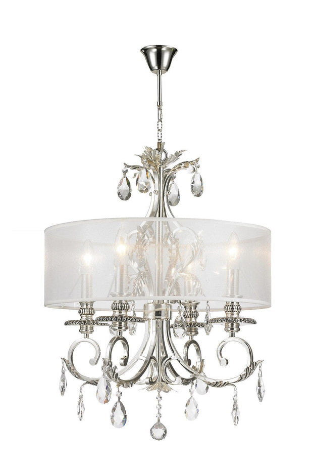 ARIA - Hampton 4 Arm Chandelier - Silver Plated - Orb Outer Shade - Designer Chandelier