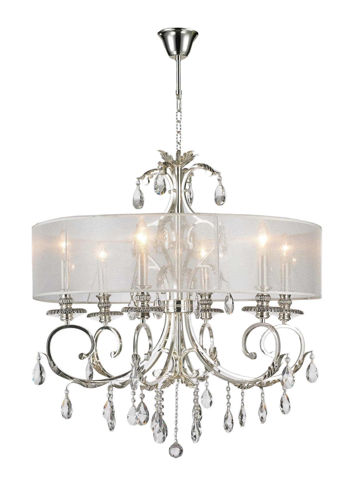 ARIA Hampton 6 Arm Chandelier Silver Plated Orb Outer Shade