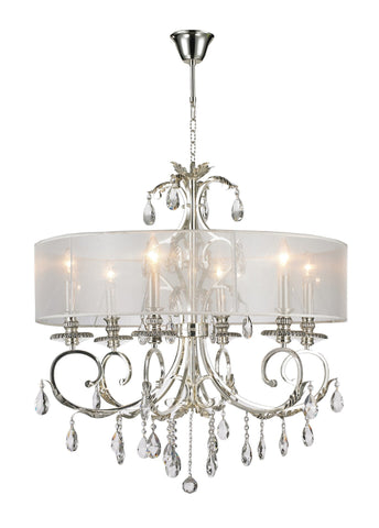 ARIA - Hampton 6 Arm Chandelier - Silver Plated - Designer Chandelier  ARIA - Hampton 6 Arm Chandelier - Silver Plated - Designer Chandelier
