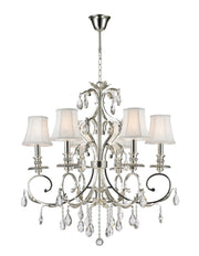 ARIA - Hampton 6 Arm Chandelier - Silver Plated - Designer Chandelier