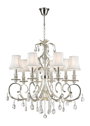 ARIA - Hampton 8 Arm Chandelier - Silver Plated - Designer Chandelier  ARIA - Hampton 8 Arm Chandelier - Silver Plated - Designer Chandelier