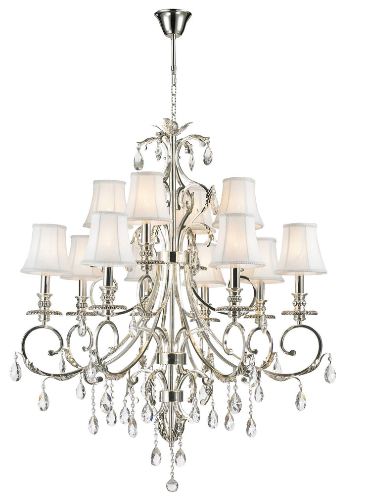 ARIA - Hampton 12 Arm Chandelier - Silver Plated - Designer Chandelier