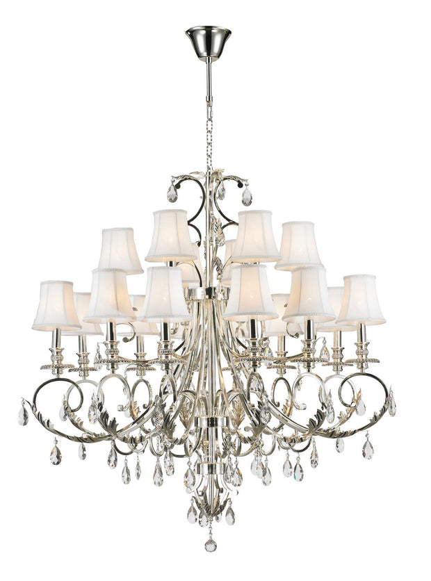 ARIA - Hampton 18 Arm Chandelier - Silver Plated - Designer Chandelier