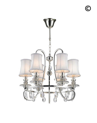 NewYork - Hampton Halo 6 Light Chandelier - Silver Plated