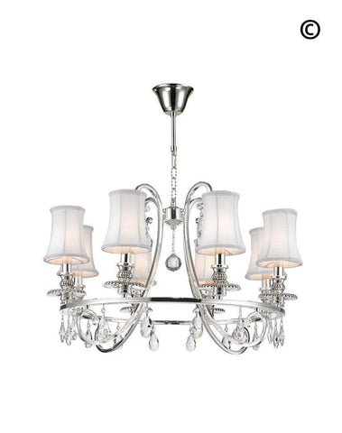 NewYork - Hampton Halo 8 Light Chandelier - Silver Plated