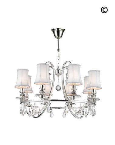 NewYork - Hampton Halo 8 Light Chandelier - Silver Plated - Designer Chandelier  NewYork - Hampton Halo 8 Light Chandelier - Silver Plated - Designer Chandelier
