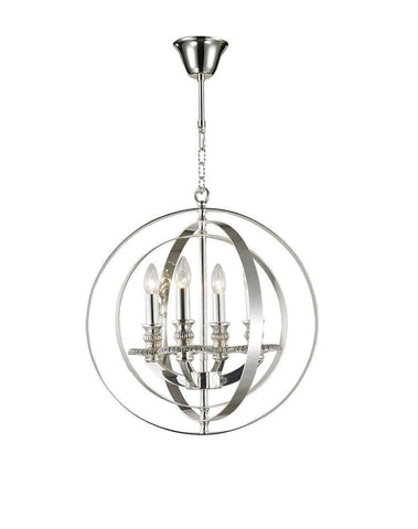 Hampton Orb - 4 Light - Silver Plated - Designer Chandelier  Hampton Orb - 4 Light - Silver Plated - Designer Chandelier