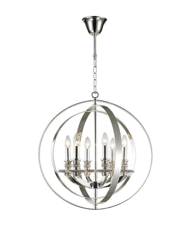 Hampton Orb - 6 Light - Silver Plated - Designer Chandelier