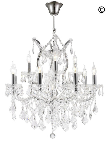 Maria Theresa Crystal Chandelier Grande 13 Light - CHROME - Designer Chandelier