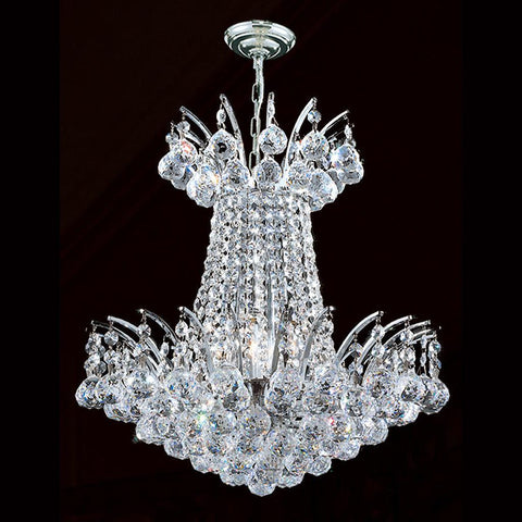Cascading Empress Chandelier - 4 Light Chrome - W:40cm - Designer Chandelier