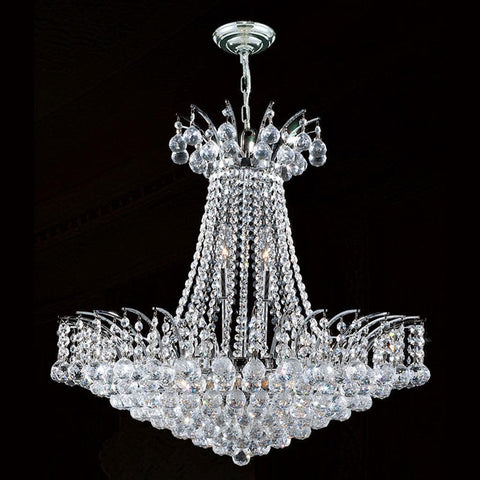 Cascading Empress Chandelier - 11 Light Chrome - W:60cm - Designer Chandelier