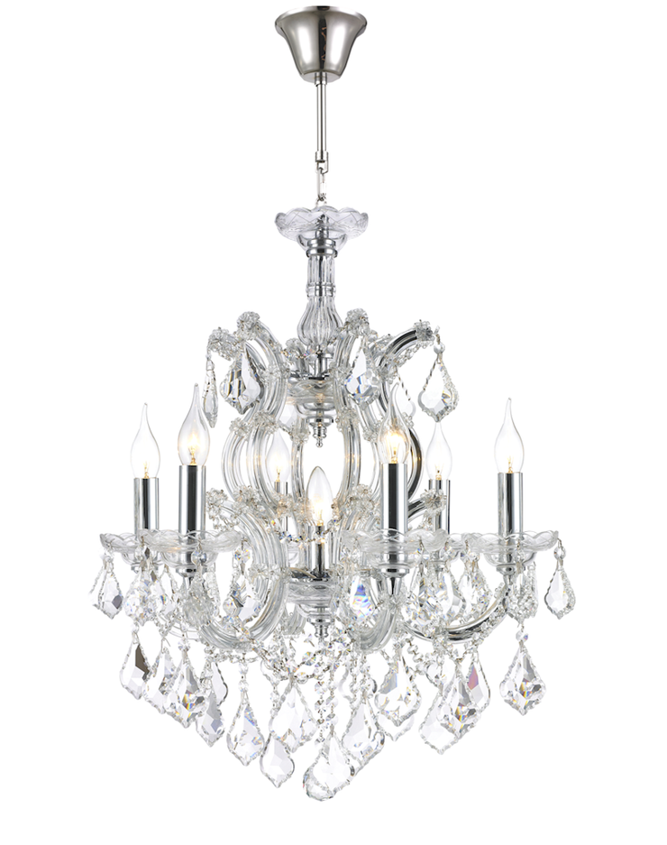 Maria Theresa Crystal Chandelier Grande 7 Light - CHROME - Designer Chandelier