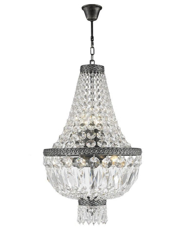 French Basket Chandelier - Antique SILVER - 5 Light - Designer Chandelier