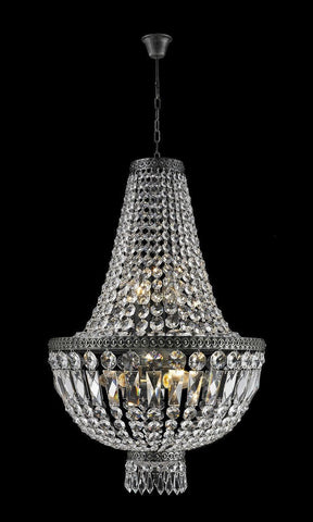 French Basket Chandelier - Antique SILVER - 6 Light