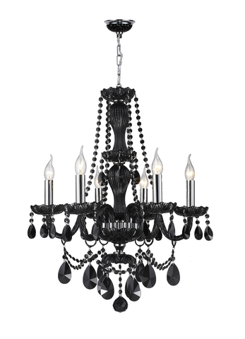 Jet Black Bohemian Chandelier - 6 ARM - Designer Chandelier