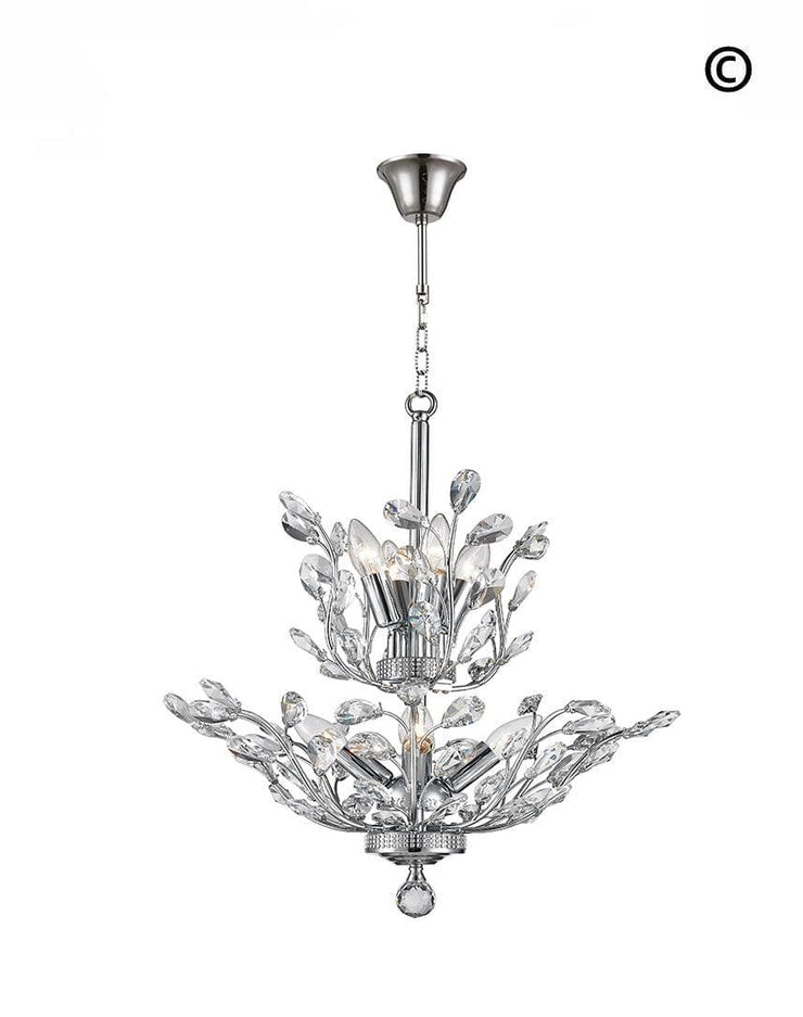 Willow Contemporary Leaf Chandelier - W:53cm - Designer Chandelier