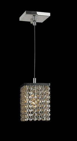 Single Crystalia Pendant Light - Golden Teak