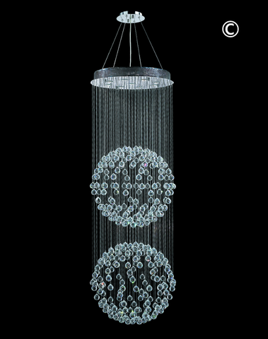Double Full Ball LED Crystal Chandelier - Width:60cm Height:180cm - Designer Chandelier
