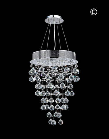Round Cluster LED Crystal Chandelier - Width:40cm Height:60cm