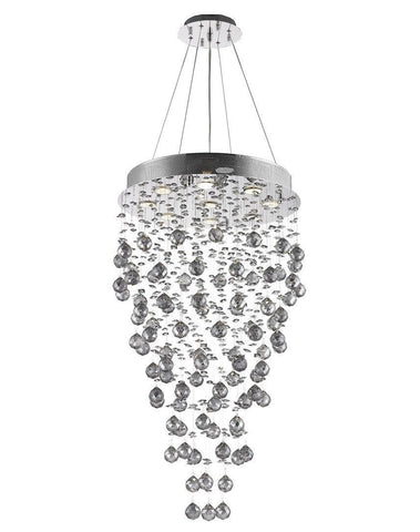 Round Cluster LED Crystal Chandelier -SMOKE - Width:50cm Height:90cm