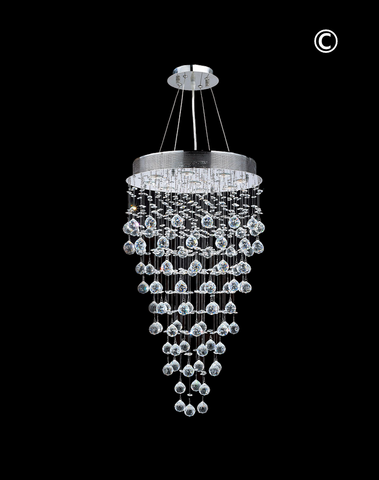 Round Cluster LED Crystal Chandelier - Width:50cm Height:90cm