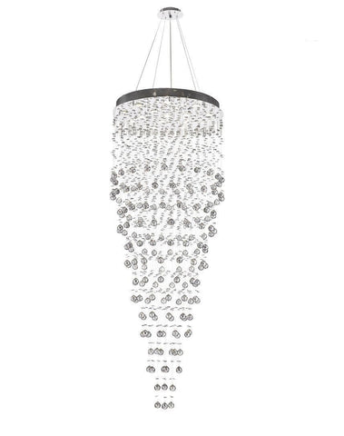 Round Cluster LED Crystal Chandelier -SMOKE - Width:76cm Height:200cm