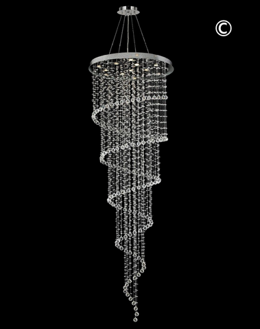 Contemporary Spiral LED Chandelier - W:100cm H:300cm - Designer Chandelier