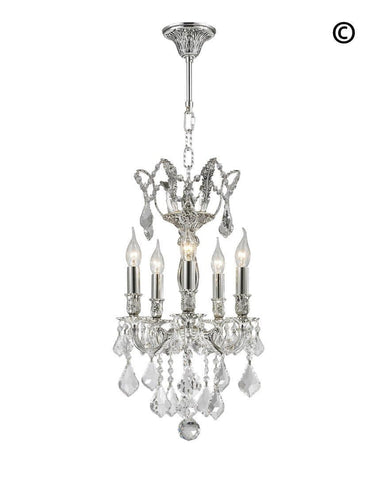 AMERICANA 5 Light Chandelier - Silver Plated - Designer Chandelier
