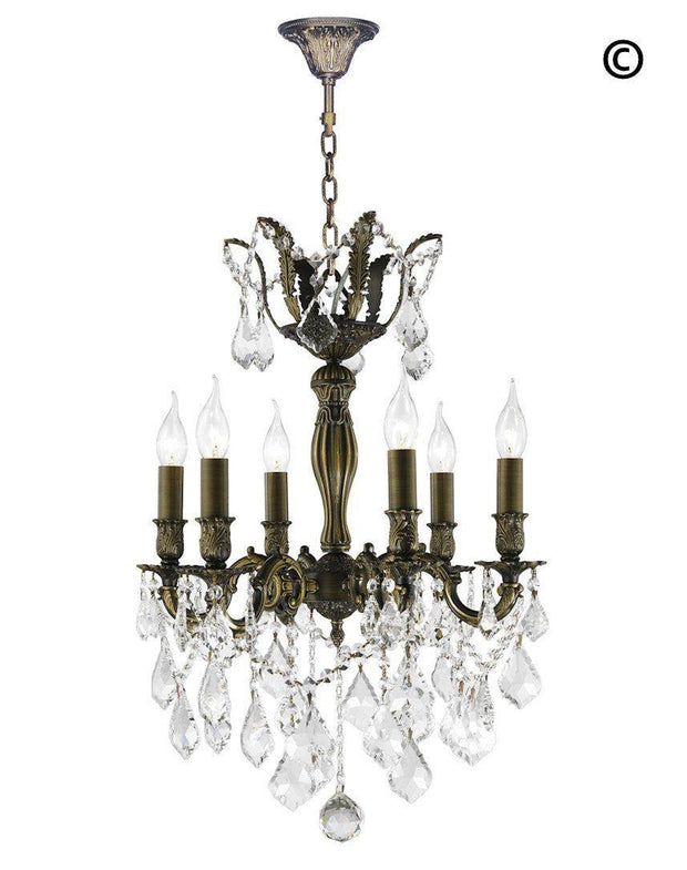 AMERICANA 6 Light Crystal Chandelier - Antique Bronze Style - Designer Chandelier