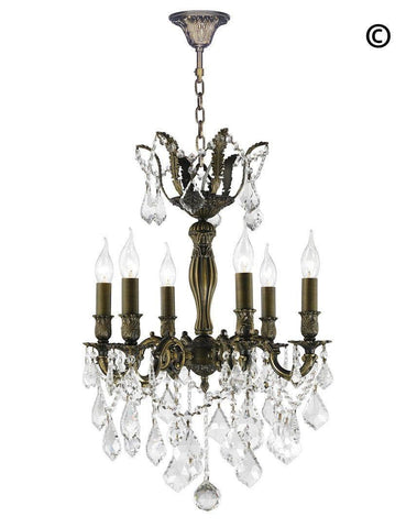 AMERICANA 6 Light Crystal Chandelier - Antique Bronze Style - Designer Chandelier  AMERICANA 6 Light Crystal Chandelier - Antique Bronze Style - Designer Chandelier