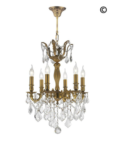 AMERICANA 6 Light Crystal Chandelier - Brass Finish - Designer Chandelier