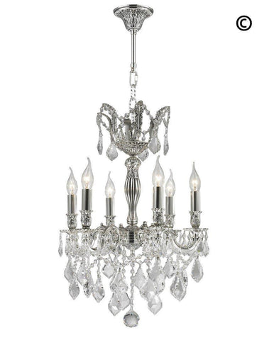 AMERICANA 6 Light Crystal Chandelier - Silver Plated - Designer Chandelier  AMERICANA 6 Light Crystal Chandelier - Silver Plated - Designer Chandelier