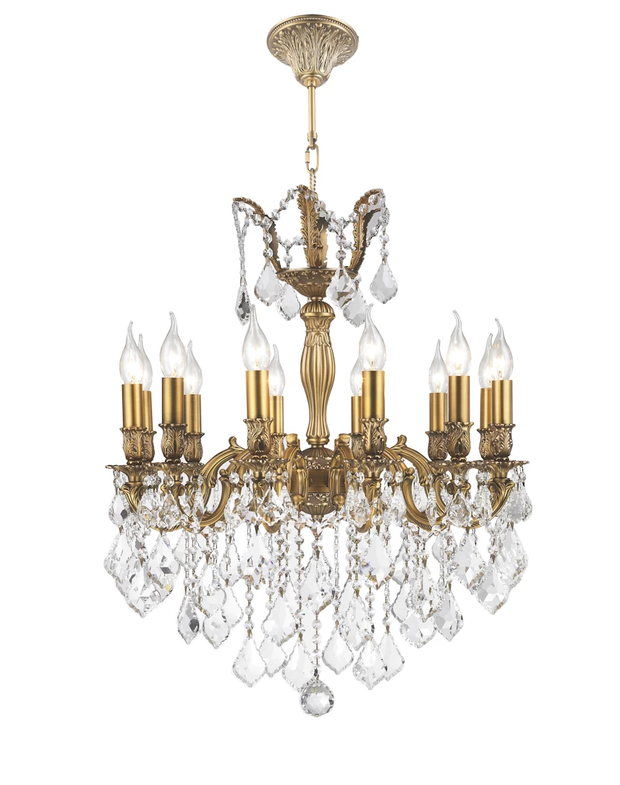 AMERICANA 12 Light Crystal Chandelier - Brass Finish - Designer Chandelier