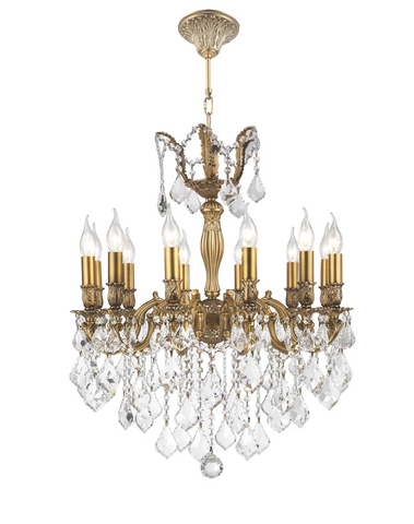 AMERICANA 12 Light Crystal Chandelier - Brass Finish - Designer Chandelier  AMERICANA 12 Light Crystal Chandelier - Brass Finish - Designer Chandelier