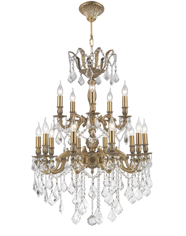 AMERICANA 15 Light Crystal Chandelier - Brass Finish - Designer Chandelier