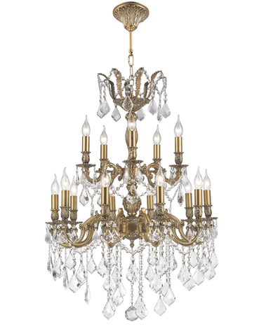 AMERICANA 15 Light Crystal Chandelier - Brass Finish - Designer Chandelier  AMERICANA 15 Light Crystal Chandelier - Brass Finish - Designer Chandelier