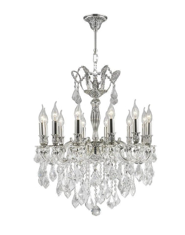 AMERICANA 12 Light Crystal Chandelier - Silver Plated - Designer Chandelier