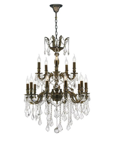 AMERICANA 15 Light Crystal Chandelier - Antique Bronze Style